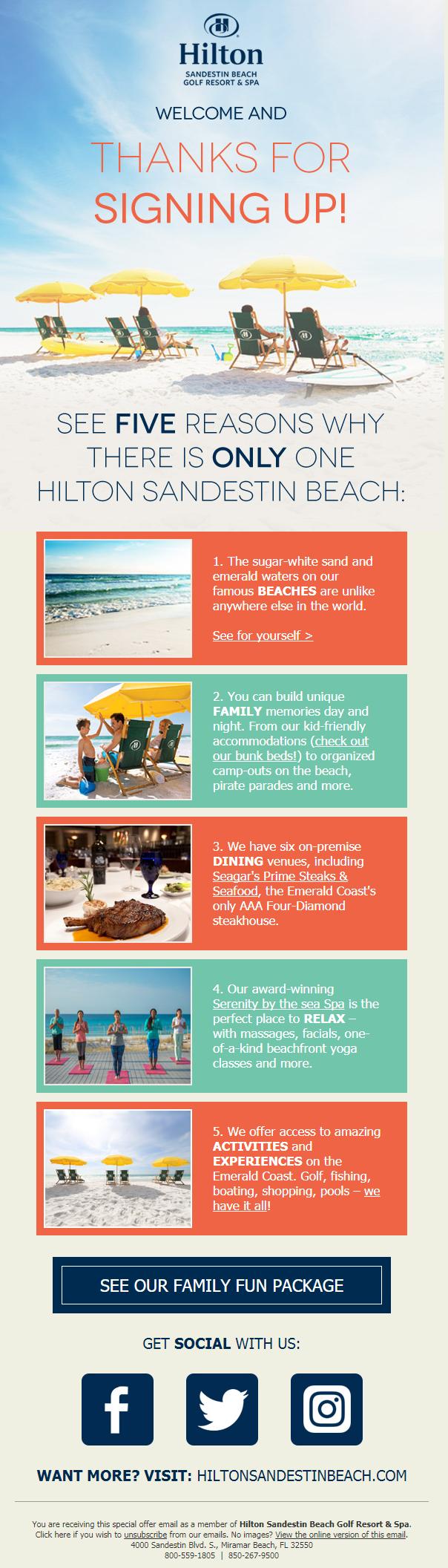 Hilton Sandestin Beach Golf Resort & Spa Welcome Email Series